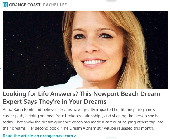 Orange Coast Magazine interview with Anna-Karin Bjorklund